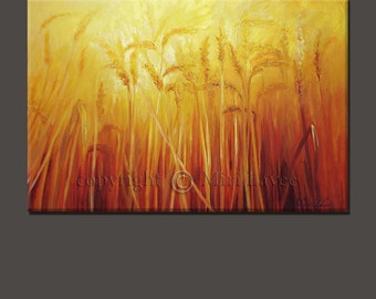 Large Wall Art Oil Painting, Paintings on Canvas Original Artwork, Home Painting, Wheat, The Wheatfield Large Wall Painting