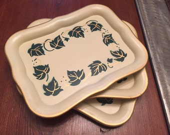 Vintage Smaller Metal Trays, 4 Midcentury Drink Trays, Retro Small Trays with Hand Painted Vine work decal/stencil on each one, Trays