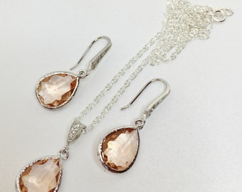 Peach Wedding Jewellery Set Peach Bridesmaid Jewellery Wedding Party Gift Peach Bridal Party Set Mother of the Bride Gift Peach Crystal Drop