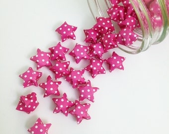 48 Pink Origami Stars: Polka Dot Mini Stars - Origami Decorations - Paper Stars - Pink and White - Baby Shower Decorations - Gender Reveal