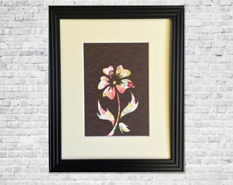 Flower Art Papercut  - 1st Anniversary - paper gift - Nursery Decor Modern Flower Wall Art - Rustic Home Decor - 8 x 10 Framed Gift