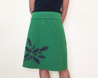 Jersey a line skirt, knee length, with hand stitched appliques, knit a line skirt