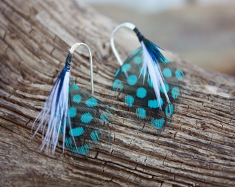 Hand Tied Blue Guinea Feather Earring. Very Classy and Eyecatching. Blue Guinea, Blue Peacock Plumage and White Turkey Marabou 1 in. length