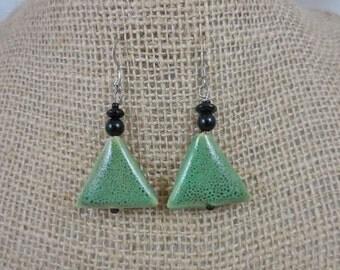 Black Onyx Green Ceramic Dangle Earrings