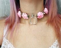 Pre-Order, Clear Spike Pink Rose Choker,  Kitten Play Collar, Pet Play Collar, Flower Choker