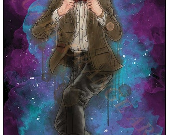Eleventh Doctor Matt Smith 11th Dr Who Inspired Splash Style A4 Original Art Print