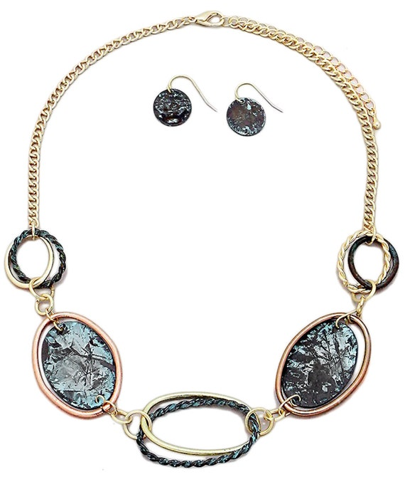 Mixed Patina Oval Links Necklace and Earrings