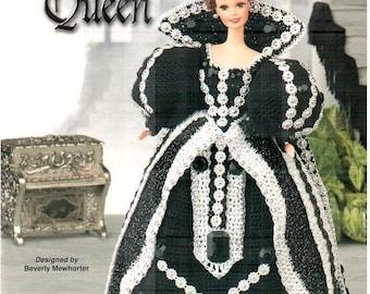 Black Onyx Queen, dress fits Barbie dolls. Designs by Beverly Mewhorter, Annie's Attic fashion doll thread crochet pattern 871219.