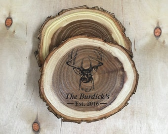 Antlers | Gifts for Dad | Log Coasters | Hunting Gifts | Wood Coaster Set of 4 | Gift for Him | Cabin Decor | Dad Gifts | Father's Day Gift