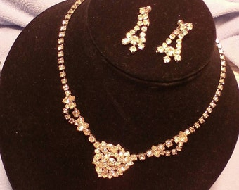 Rhinestone Necklace and Earrings~ Fabulous Vintage!