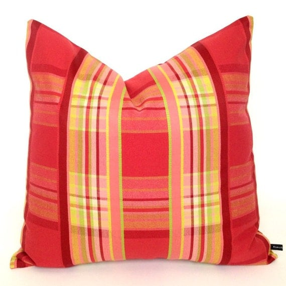 Spring Summer plaid pillow cover 20x20 red by FlossieandRay