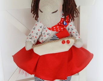 "Handmade doll ""The horse with the ship"" height -50 cm"