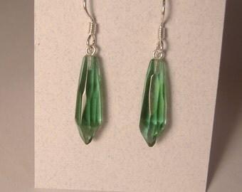 Green Antique Glass Earrings cut from Telephone Pole Insulator circa 1930's E-16