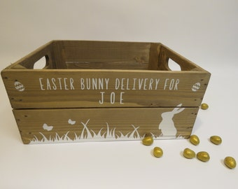 Personalised Easter Crate Wooden Easter Bunny Gift Box Easter Gift Easter Egg Hunt Easter Hamper