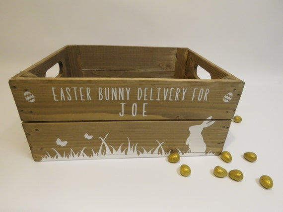 Personalised easter crate wooden easter bunny gift box easter for Design your own egg boxes