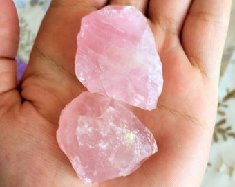 2 Rose Quartz Raw Rose Quartz Chunks w/ Reiki from Madagascar, Raw Rose Quartz