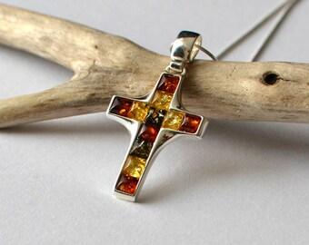 Amber Cross Necklace, Amber Pendant, Tri-Color Baltic Amber, Silver Amber Cross, Amber Jewelry, Amber Cross Pendant