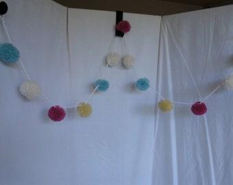 pastel pompoms, pompom garland, CLEARANCE price pompoms, wool pompoms, pretty pompoms, nursery, mixed pastel pompoms, playroom decoration