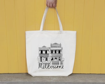 Melbourne Terrace House illustrated screen printed tote bag, Melbourne Gift, Shopping Bag Gift