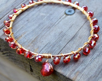 Red Crystal Bangle with Crystal Heart, Red Crystal Bracelet, Red Crystal, Red Bracelet, Red Bangle, Valentine's Gift, Red Valentines Gift