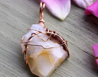 The Oregonian Pendant: milk and honey colored Butte Opal, glowing Oregon Opal, golden wire wrappped, transformation, imagination, dreams