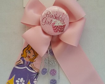 Handpainted Bow With Removable Birthday Girl Button
