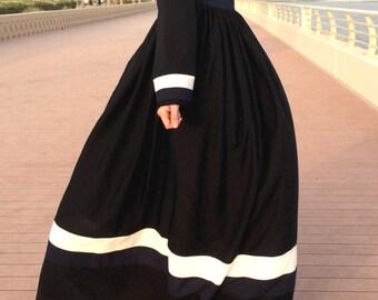White Navy Stripes Dress / Maxi Dress with Sleeves / Long Dress / Plus Size Maxi Dress / Modest Maxi Dress / Abaya Maxi Dress / Hijab Dress