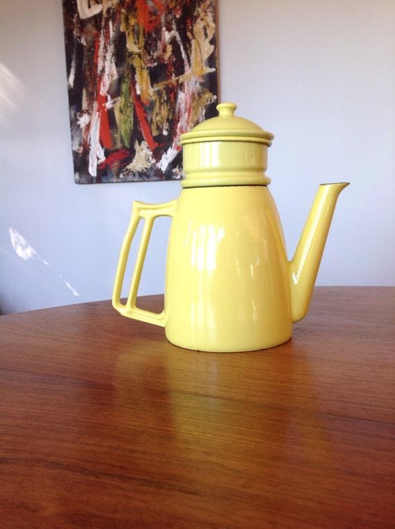 Mid Century Coffee Pot Cast Iron Enamel Drip Coffee Pot