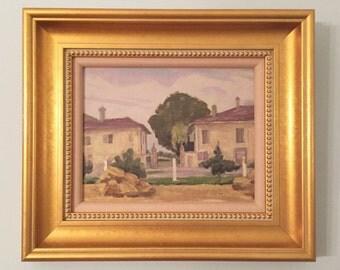 Tuscan Villa Original Oil Painting Signed Framed