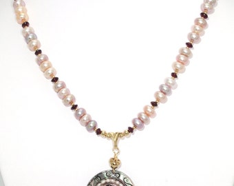 BN008- Mother Of Pearl Cameo pendant & multi-color Freshwater Pearls necklace, and matching earrings set