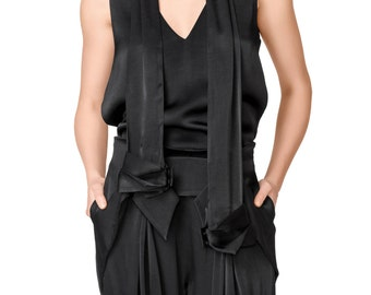 SALE Black Sexy Sleeveless Top with Scarf and V Neckline and Back
