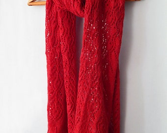 Knitted angora red wrap lace wide scarf, scarlet cardinal ruby color, woman knitted scarf, angora scarf, knitted woman scarf