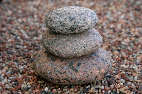 Zen garden sculpture natural beach stone stack by seazencity for Smooth stones for landscaping