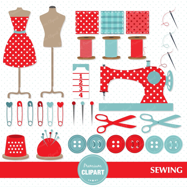 Vintage sewing machine whimsical sewing clip art vintage