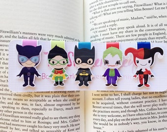 Superhero and Villian Magnetic Bookmarks || Set of Five