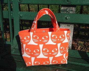Cat Tote bag, Orange Cats Bag, Kwaii bag, Cotton canvas,Cat lover, handmade tote bag, Gift for her, School bag, Market bag, lunch bag