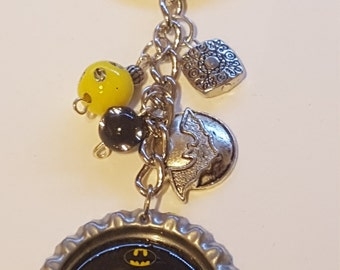 Keep Calm and Call Batman BottleCap Keychain