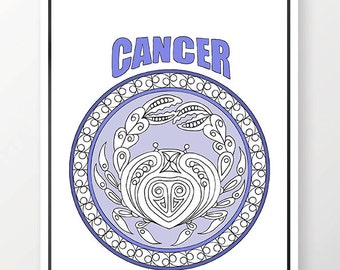 Adult Coloring Page Zodiac Cancer