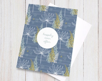 Happily Ever After Card, Wedding Card Congratulations, Wedding Day Card, Congrats Card, Floral Lupins Blank Nuptials Greeting Card