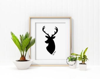 Oh Deer, Print, Poster, Deer Head Silhouette, Animal, Rustic, Woodland, Wall Art, Cabin, Home Decor, Printable,  Antlers, Tribal