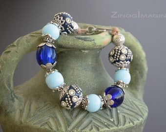 Chunky Beaded Bracelet with Blue Handmade Indonesian Rhinestone Beads, India Lampwork Beads and Vinatge German Glass Beads