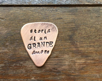 Storia at un Grande Amore Hand Stamped Guitar Picks Gift - Aluminum Copper Brass - Gift under 20 dollars