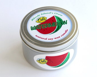 Del's Watermelon Scented Natural Soy Wax Candle Rhode Island 8 oz. tin