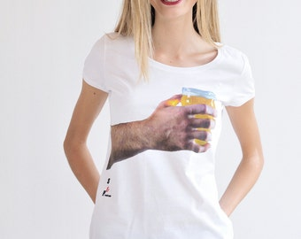 Beer T-Shirt for woman, white cotton
