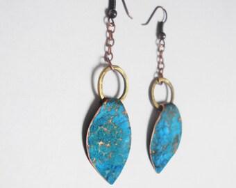 oxidised Copper leaf shaped boho rustic earrings