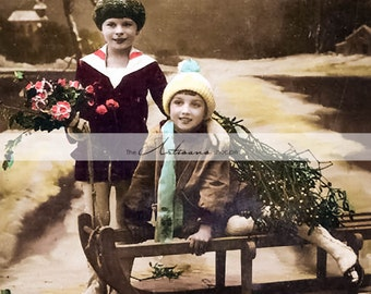 Instant Art Printable Download - Antique Hand Tinted Photograph Christmas Children Sled Snow Photograph - Paper Crafts Scrapbook Altered Art