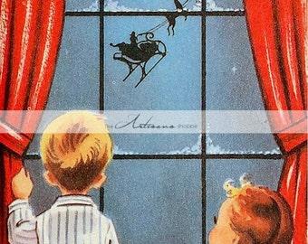 Instant Art Printable Download - Christmas Card Children Watching Santa Claus - Paper Crafts Altered Art Scrapbook - Vintage Retro Christmas