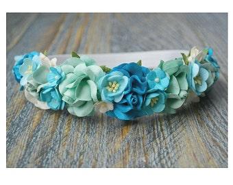 Ombre blue floral crowm