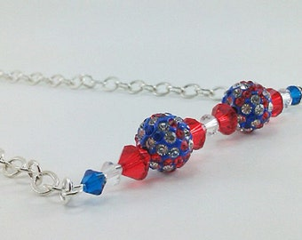 Red White Blue Swarovski Crystal Bar with Crystal Encrusted Bead on Silver Chain Handmade One-of-a-Kind Beaded Gemstone Necklace, Patriotic