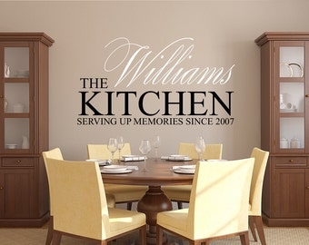 Family Name Wall Decal   Kitchen Wall Decal   Serving Memories Since Decal    Family Established